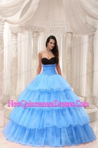 Retty Aqua Blue Sweetheart Beaded and Layers Ball Gown Quinceanera Dress Taffeta and Organza