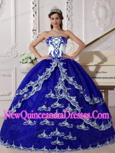 Retty Dark Blue and White Ball Gown Strapless Floor-length Organza Appliques Quinceanera Dress