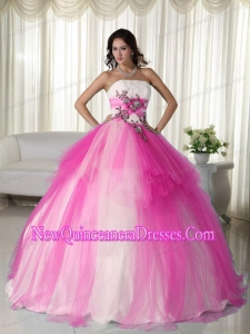 Retty Hot Pink Ball Gown Strapless Floor-length Tulle Beading Quinceanera Dress