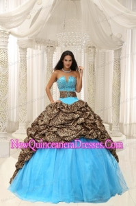 Retty Leopard and Organza Beading Decorate Sweetheart Neckline Quinceanera Dress