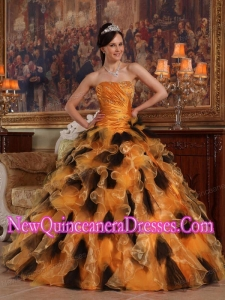 Retty Orange and Black Ball Gown Strapless Floor-length Organza Quinceanera Dress