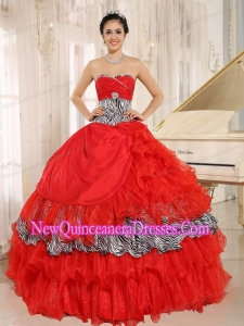 Retty Wholesale Red Sweetheart Ruffles Quinceanera Dress With Zebra and Beading
