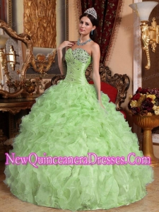 Retty Yellow Green Ball Gown Sweetheart Floor-length Organza Beading and Ruffles Quinceanera Dress