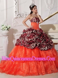 Simple Quinceanera Dresses In Orange Red With Sweetheart Sweep / Brush Train and Appliques