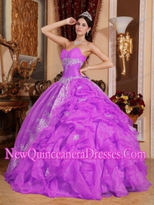 Sweetheart Floor-length Organza Beading Puffy Sweet 16 Gowns in Fuchsia