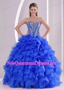 Sweetheart Ruffles and Beaded Decorate Puffy Quinceanera Dresses On Sale in Royal Blue