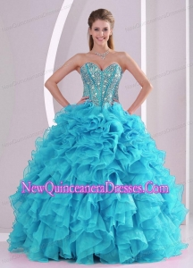Sweetheart Ruffles and Beaded Decorate Sleeveless Popular Quinceanera Gowns