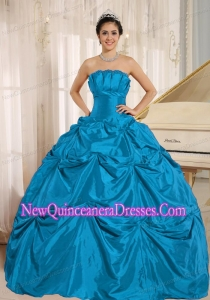 Teal Ball Gown Quinceanera Dress With Pick-ups For Custom Made Taffeta