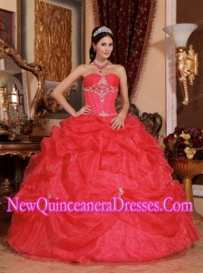 A Coral Red Ball Gown Sweetheart Organza Beading Simple Quinceanera Dresses
