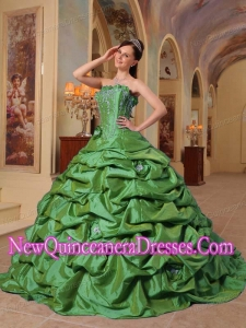 A Green With Court Train Pick-ups Taffeta Simple Quinceanera Dresses