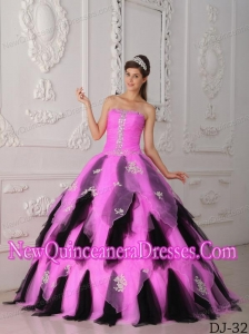 A-Line Strapless Organza Appliques Pretty Sweet 15 Dresses in Hot Pink and Black