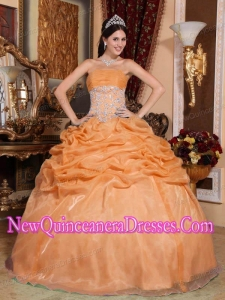 Ball Gown Strapless Floor-length Organza Appliques Popular Quinceanera Gowns in Orange