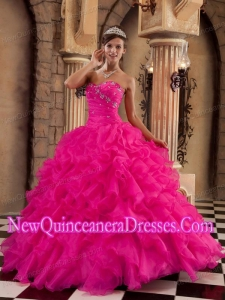 Ball Gown Sweetheart Organza Ruffles Pretty Sweet 15 Dresses