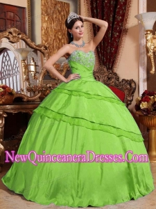 Ball Gown Sweetheart Taffeta Appliques Popular Quinceanera Gowns in Spring Green