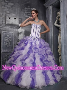 Colorful Ball Gown Sweetheart Taffeta and Organza Appliques Popular Quinceanera Gowns