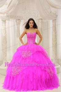 Custom Made Fuchsia Sweetheart Embroidery For AffordableSweet 15 Gowns Wear In 2013