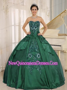 Dark Green Embroidery Lovely Sweet 15 Dresses With Sweetheart In 2013