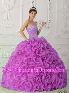 Lilac Ball Gown Strapless Organza Beading Pretty Sweet 15 Dresses