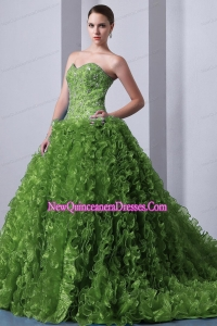 Olive Green A-Line / Princess Sweetheart Brush Train Organza Beading and Ruffles Lovely Sweet 16 Dresses
