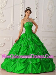 Plus Size Green Ball Gown Strapless Floor-length Taffeta Appliques and Beading Quinceanera Dresses
