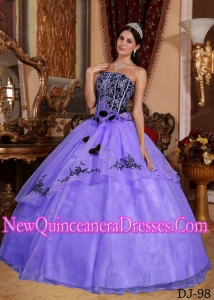 Plus Size Purple and Black Strapless Floor-length with Embroidery Quinceanera Dresses