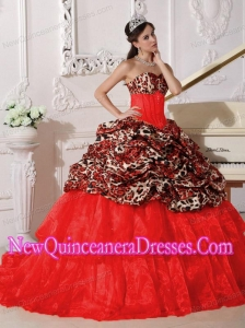 Plus Size Red Ball Gown Sweetheart Sweep / Brush Train Leopard and Organza with Appliques Quinceanera Dresses