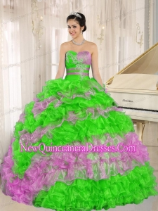 Plus Size Stylish Multi-color 2013 Quinceanera Dress Ruffles With Appliques Sweetheart Quinceanera Dresses