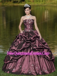 Popular Custom Size Strapless Quinceanera Gowns Beaded Decorate With Rust Red