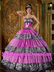 Pretty Ball Gown Sweetheart Floor-length Zebra Ruffles Sweet 15 Dresses