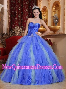 Pretty Ball Gown Sweetheart Tulle Beading Sweet 15 Dresses in Blue