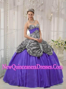 Purple Sweetheart Taffeta and Zebra or Leopard Ruffles Pretty Sweet 15 Dresses