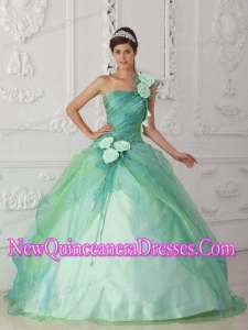 Simple Quinceanera Dresses In Apple Green With One Shoulder Organza Beading and Hand Flower