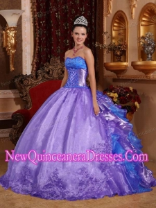 Simple Quinceanera Dresses In Purple With Strapless Organza Embroidery