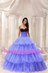 Sweetheart Beaded and Layers Ball Gown Popular Quinceanera Gowns in Purple