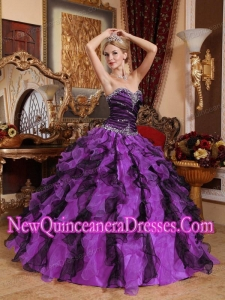 Sweetheart Floor-length Beading and Ruffles Puffy Sweet 16 Gowns in Purple and Black