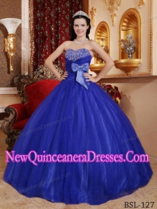 Sweetheart Floor-length Tulle and Tafftea Beading Puffy Quinceanera Dress in Blue