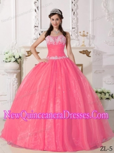 Watermelon Ball Gown Strapless With Appliques Simple Quinceanera Dresses