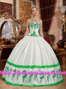 White and Green Sweetheart Floor-length Taffeta Appliques Quinceanera Dress