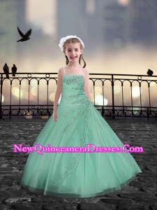 2016 Spaghetti Straps Apple Green Little Girl Pageant Dresses with Beading