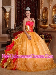 Ball Gown Strapless Floor-length Organza Embroidery Gold Cheap Quinceanera Dresses