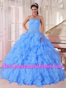 Ball Gown Strapless Ruffles and Beading Organza Beading Blue 2013 Quinceanera Dresses