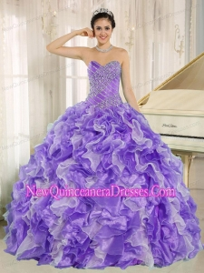 Beaded and Ruffles Custom Made For Purple Cheap Quinceanera Dresses