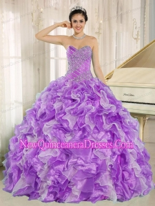 Beaded and Ruffles For Beautiful Quinceanera Dresses in Purple and White
