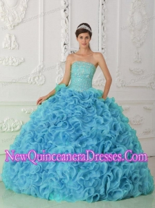 Beautiful Organza Ball Gown Strapless Beading Blue Quinceanera Dresses with Ruffles