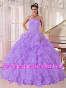 Cheap Ball Gown Strapless Lavender Organza Beading Quinceanera Dresses
