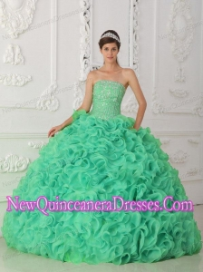 Cheap Turquoise Strapless Organza Quinceanera Dresses with Beading