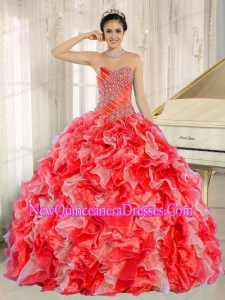 Classical Beaded and Ruffles For Red Quinceanera Dresses