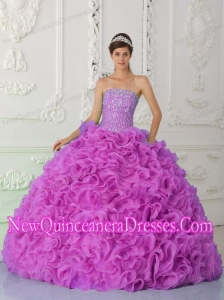 Strapless Fuchsia Classical Quinceanera Dresses with Ruffles and Beading