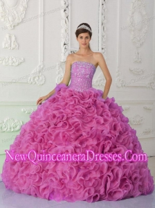 Ball Gown Strapless Organza Beaded Hot Pink Custom Made Quinceanera Dresses