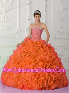 Ball Gown Strapless Organza Beading Orange Red Pretty Sweet 15 Dresses